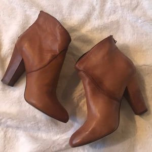Steven Cognac Brown Leather Booties SZ 7.5